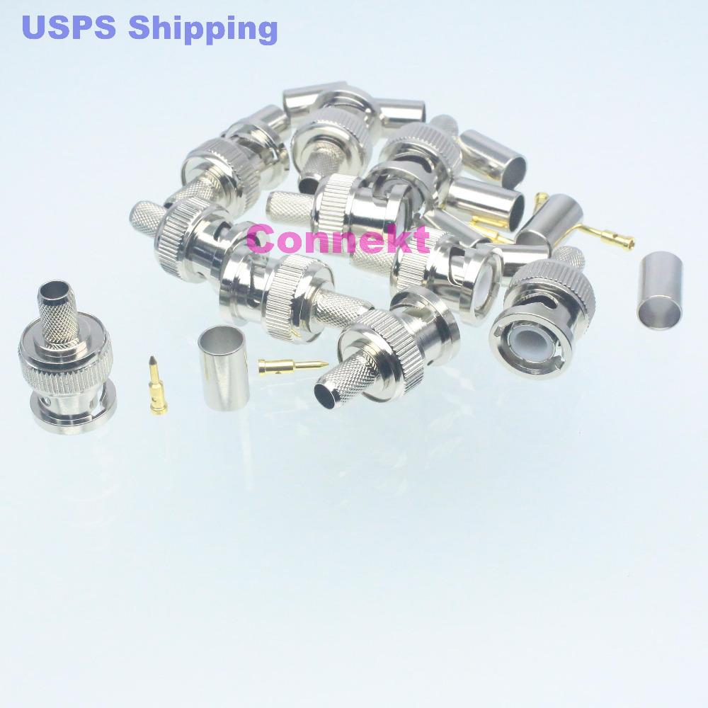 10pcs connector BNC male plug crimp RG8X RG-8X LMR240 straight M(China (Mainland))