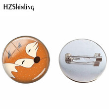 Red Fox Bros Tidur Fox Hewan Perhiasan Pin Hewan Seni Kubah Kaca Bros Little Fox Di Hutan Perhiasan untuk teman(China)