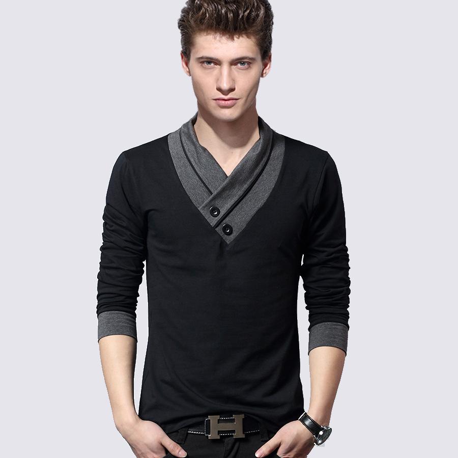 2014 New Autumn Men 39 S Long Sleeve Black T Shirt V Neck