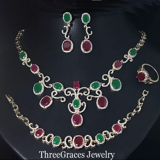 18K Gold Plated Natural Emerald Ruby Crystal Women Necklace Earrings And Braclet 4 Piece Jewelry Sets With Zirconia Stone JS135(China (Mainland))