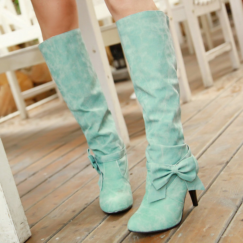 2015 winter Autumn New Slip-On Knee Boots Women Solid Colors Bowtie Round Toe Spike Heels Fashion size 34-45 R1351