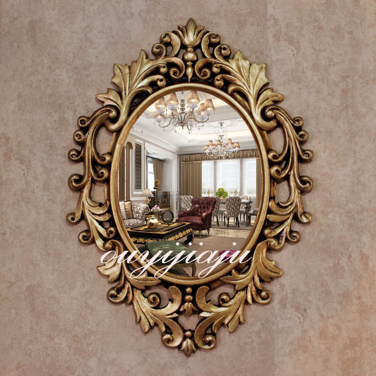 Large big decorative cosmetic antique oval wall mirror for Decorative mirrors for less