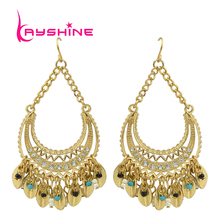 Fashion Bohemian Jewelry Ethnic Style Leaves Fringed Gold Color Earrings For Women(China (Mainland))