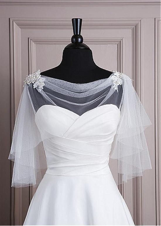 Real Photo Chic Tulle Women'Jacket Match Your Fabulous Dress Boat Beaded Bolero Wedding Shawl(China (Mainland))