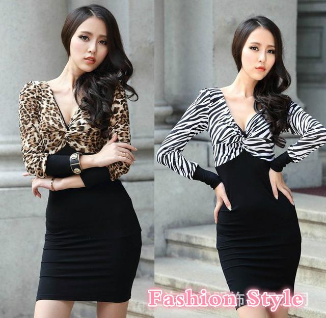 Сексуальная и клуб платья для женщин 2016 мода новый полный рукав v-образным вырезом высокая талия оболочка платья леопарда зебры печатных