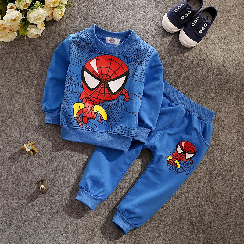 JT-181 Retail children clothing set 2016 fashion active suit kids spiderman sports clothing sets suit 2 pcs t-shirts + pants(China (Mainland))