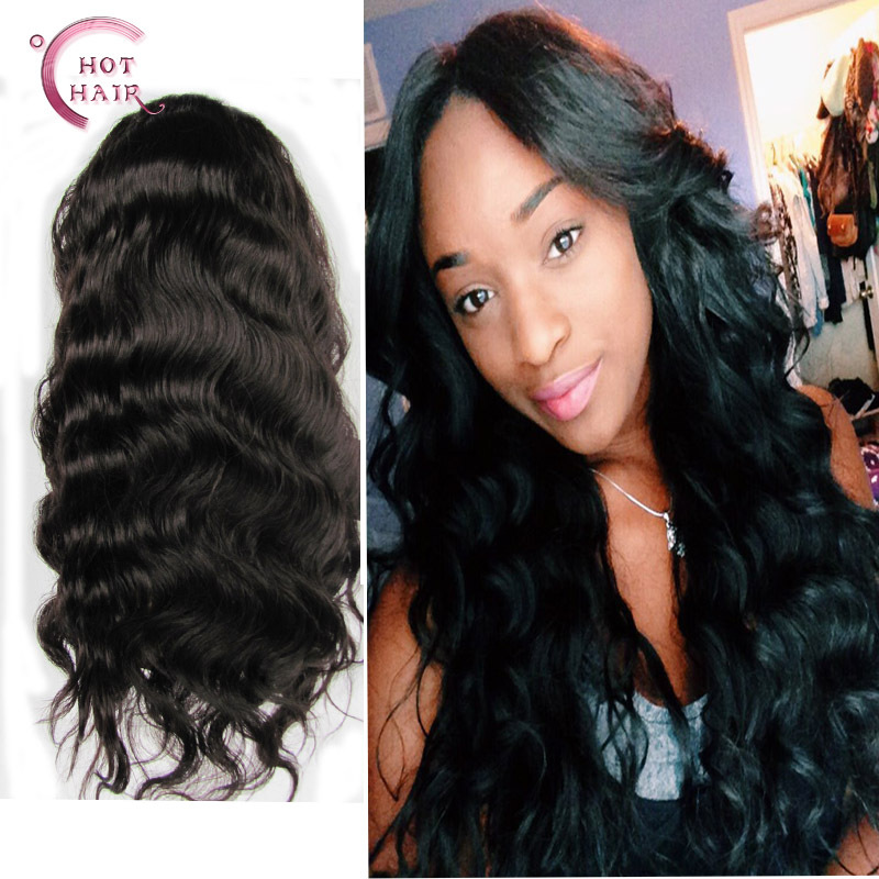 Best Quality 2016 Cheap Peruvian Virgin Human Hair Full Lace Human Hair Wig Body Wave for americans women(China (Mainland))