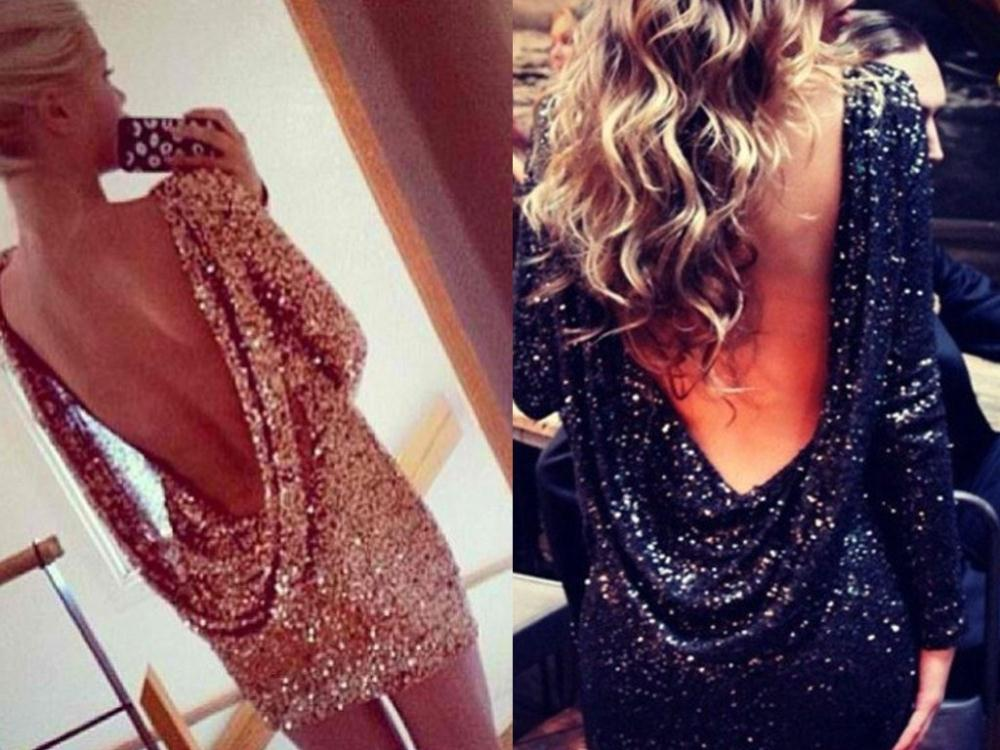 Images of Open Back Sequin Dress - Reikian