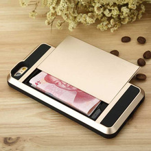 New Sales! Erus Hybrid Armor Case with Slide Card Storage Back Cover Case for IPhone6 Plus 5.5inch ET#00176