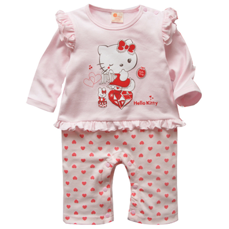 2015 summer causal baby girl rompers cartoon cotton hello kitty print jumpsuits newborn Infants one-piece(China (Mainland))