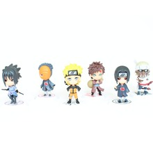2016 New 6Pcs 7cm Q Edition Anime Naruto Action Figure Toys Japanese Cartoon Naruto Minifigures Toys Model Kids Holiday Gifts