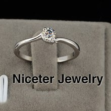 NICETER Exclusive 18K Real White Gold Plated Cubic Zircon Diamond Ruby/Transparent Engagement/Party Rings For Women Accessories