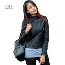 Autumn Winter Women Pu Sport Leather Jacket Black Sheepskin Soft Short Design Slim Jackets Faux Motorcycle Leather Coat(China (Mainland))