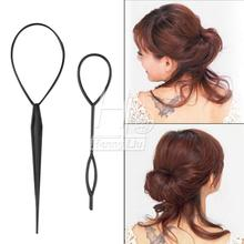 Hot Sale Chic Tail Hair Braid Ponytail Styling Maker Clip Tool Black 2pcs(China (Mainland))