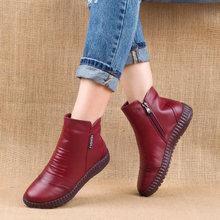 Neue 2019 Herbst Mode Frauen Echtes Leder Stiefel Handgemachte Vintage Flache Ankle Botines Schuhe Frau Winter botas(China)