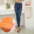 Winter long warm thick velvet skinny jeans for woman plus size blue demin trousers skinny ladies