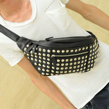 Free shipping fashion 2013 soft PU patent leather Korean version of the retro Chest Bag, rivets bag,men's WAIST PACK