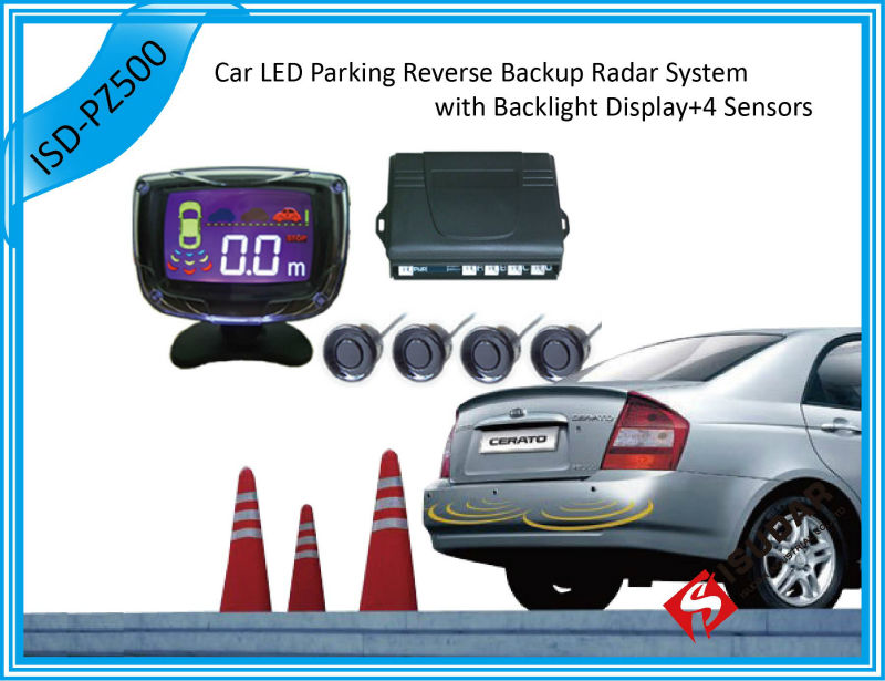 12V 3.5 Inch Car LCD Display Parking Reverse Backup Radar System 4 Sensors 7 Colors Free Shipping(China (Mainland))