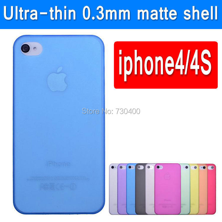 0.3 mm ultra thin colorful half transparent plastic material case for apple iphone 4 April iphone4S mobile phone shell(China (Mainland))