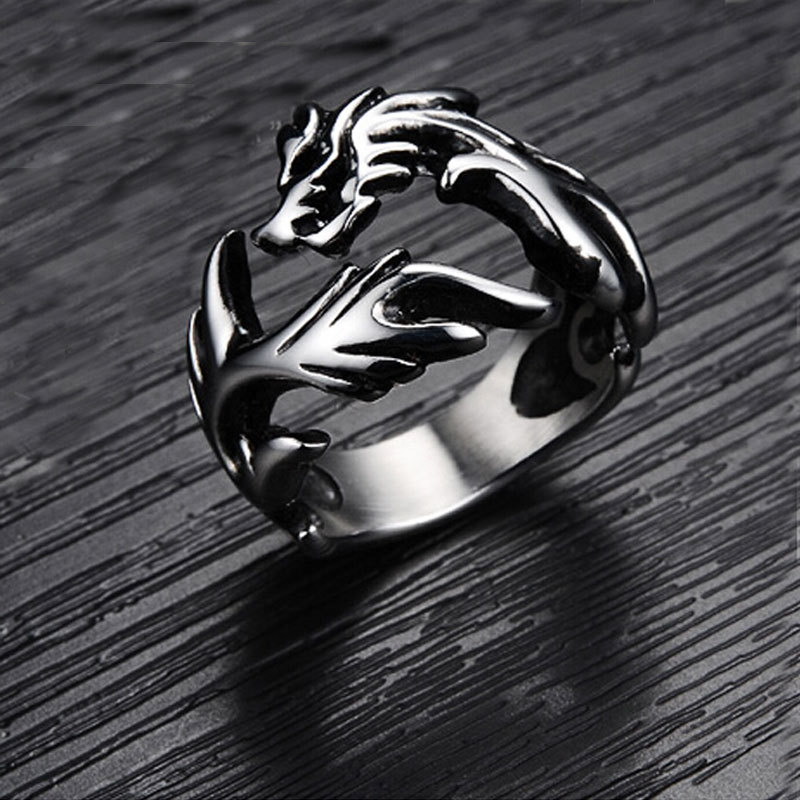 Valentine's Day Vintage Dragon Stainless steel Open Adjustable Rings for Men lord Of The rings Band new punk ring(China (Mainland))