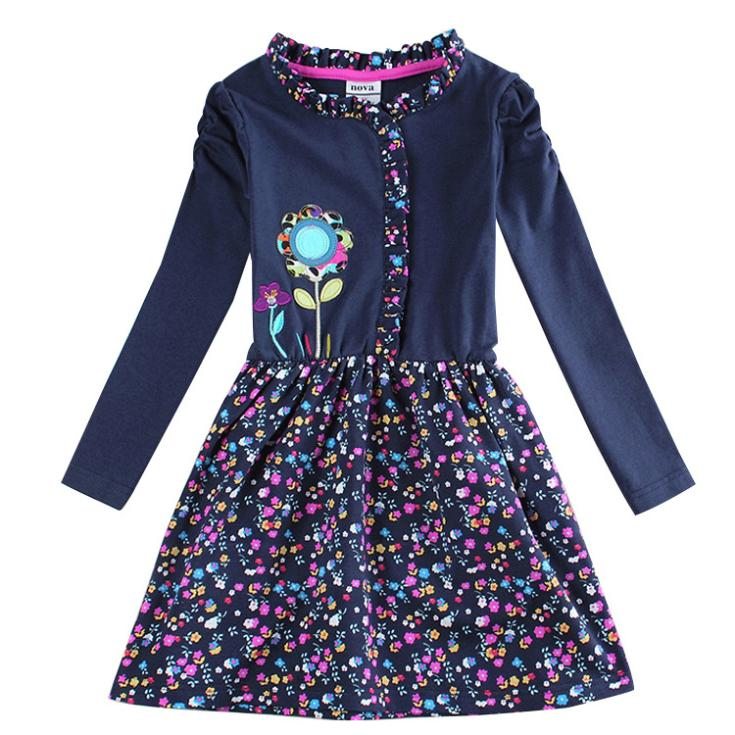 Sapphire blue baby girls Floral Dress up for girls All for children clothing accessories kids wear vestidos infantis de menina(China (Mainland))