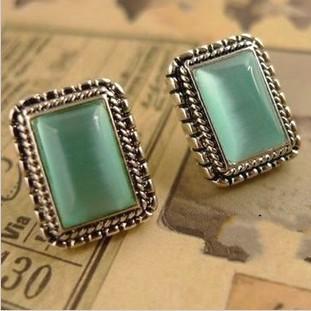 Free Shipping $10 (mix order) New Fashion Vintage Beautiful Opal Rectangle Stud Women Earring E29 Jewelry<br><br>Aliexpress