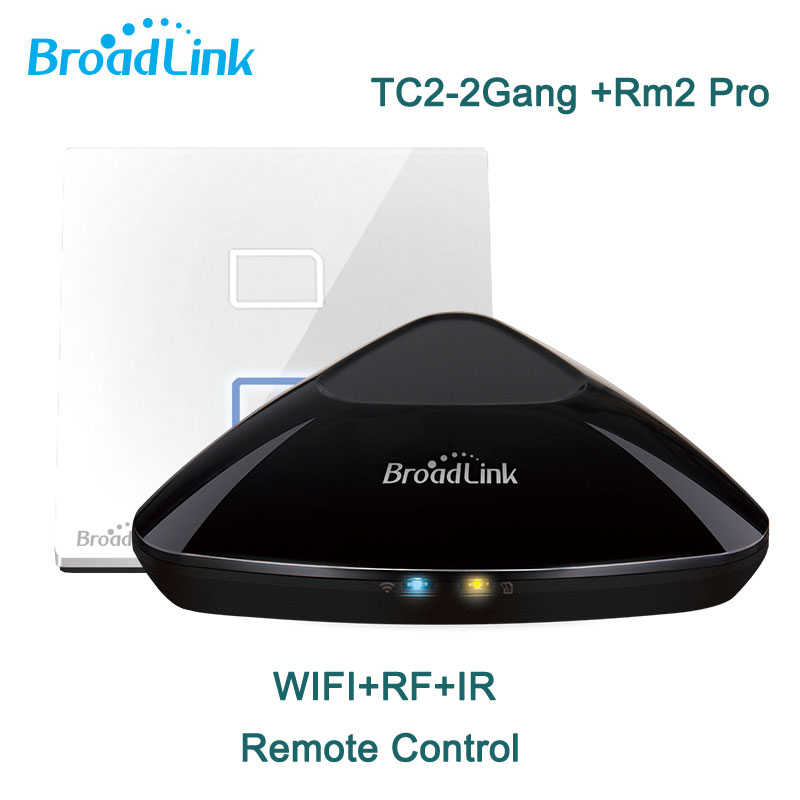 Broadlink RM2 Pro Intelligent Controller,Wireless Remote Control+TC2 2gang Wifi Remote smart home Light  switch Automation<br><br>Aliexpress