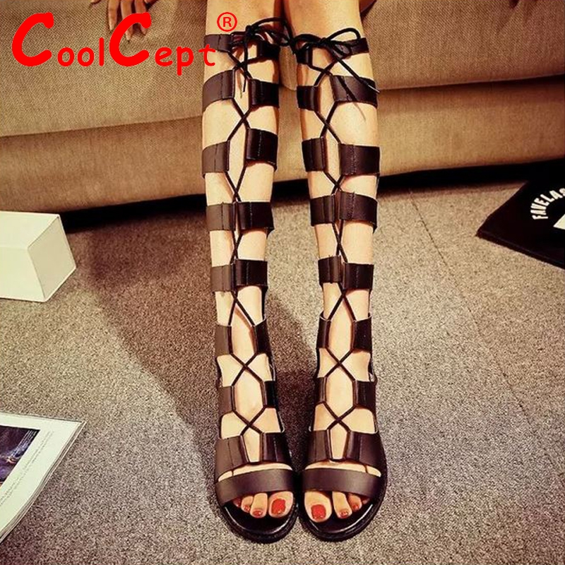 fashion brand women gladiator sandals summer footwear sexy cutout Lace-up knee high sandals flat shoes size 35-39 WB0157<br><br>Aliexpress