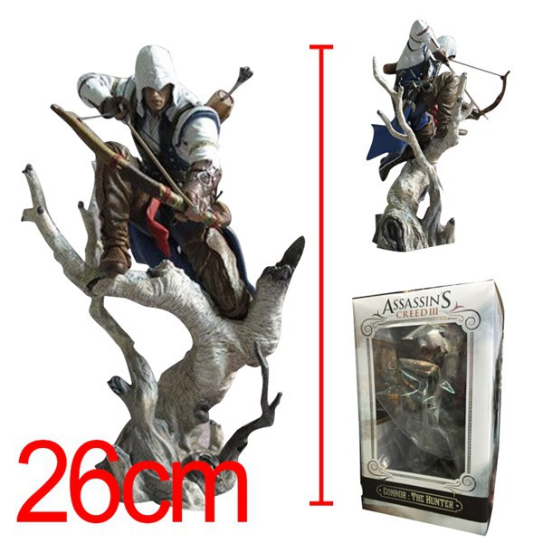 26cm Cartoon Anime Assassin's Creed 3 Connor PVC Action Figure Generations Assassin Creed Toys Connor Figure Free Shipping