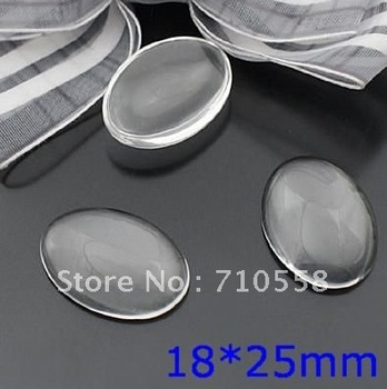 Free shipment!DIY 200pcs 25*18mm clear domed flat back Oval glass cabochons beads for fashion jewelry!