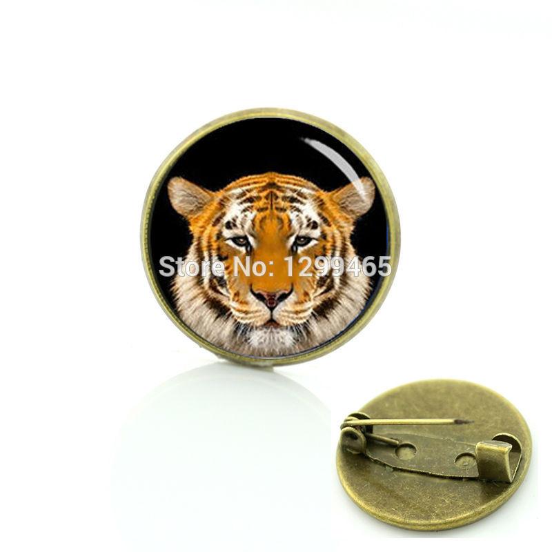 Novelty Interesting wild animal brooches tiger head Art photo pins Top fashion wildlife tiger keepsake badge C 1378(China (Mainland))