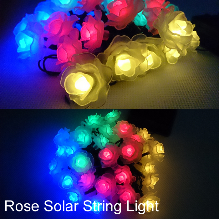 rose solar garden light decorations christmas lights home waterproof 48m 20 led rgb white warm