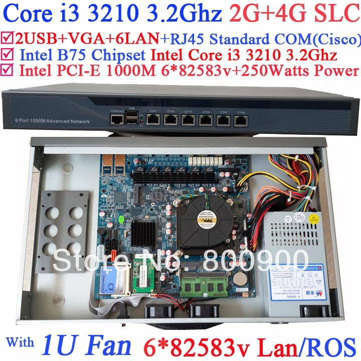 network terminals 1U router server with 6 Gigabit 82583v LAN Intel Core i3 3210 3.2Ghz Wayos PFSense ROS support 2G RAM 4G SLC(China (Mainland))