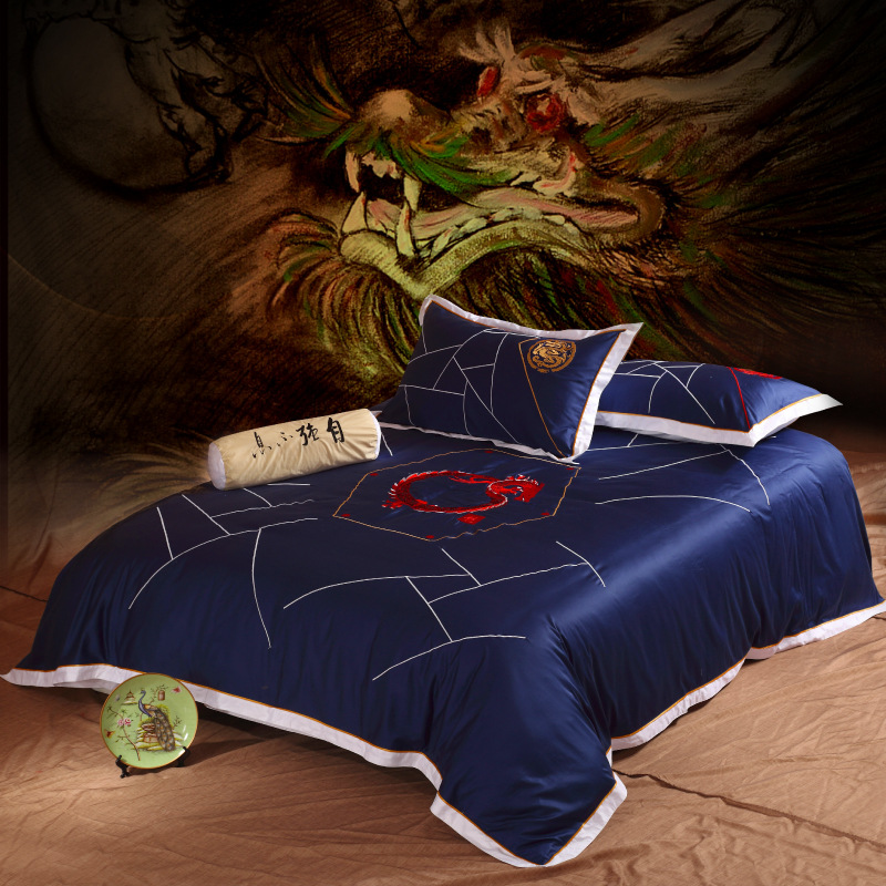 Online buy wholesale dragon sheet set from china dragon for Housse de couette king size