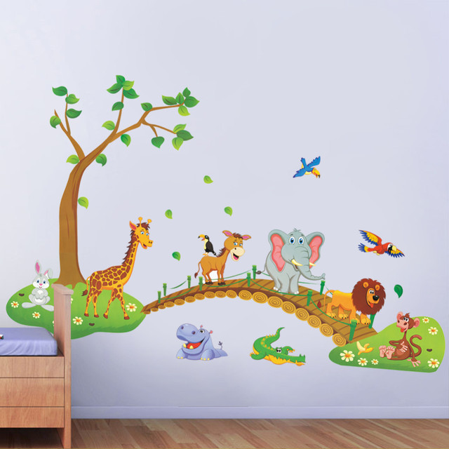 3D Cartoon Jungle wild animal tree bridge lion Giraffe elephant birds flowers wall stickers for kids room