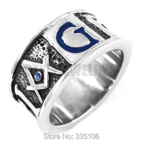 Free Shipping! Blue G Crystal Masonic Ring Stainless Steel Jewelry GEOMETRI Carve Words Freemasonry Motor Biker Men Ring SWR0358(China (Mainland))