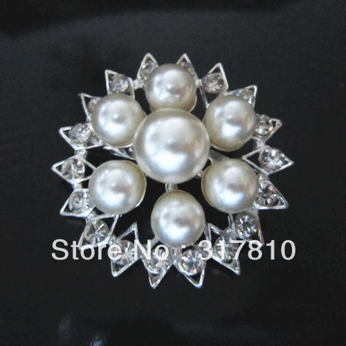 1.5 Inch Sparkly Silver Plated Clear Rhinestone Crystal Diamante and Ivory Pearl Flower Brooch