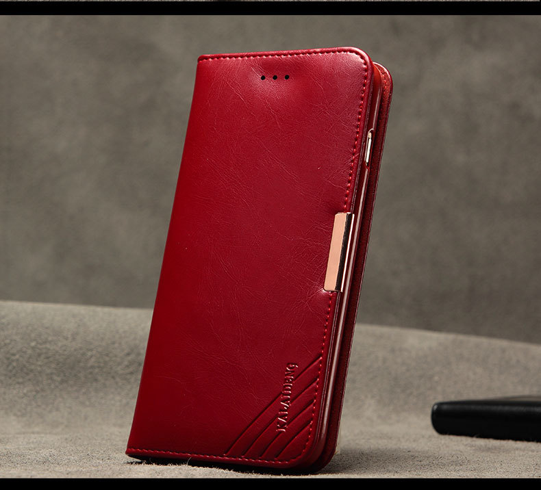 Luxury KLD ROYALE II Series Genuine Cowhide Leather Case With Stand for Apple Iphone 6 Plus / 6S Plus Black Wine Red Brown(China (Mainland))