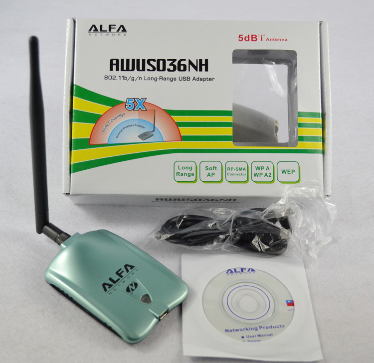 ALFA AWUS036NH Network Ralink 3070 2000MW ALFA Wireless WiFi USB Adapter with 5dbi anenna 1Set(China (Mainland))