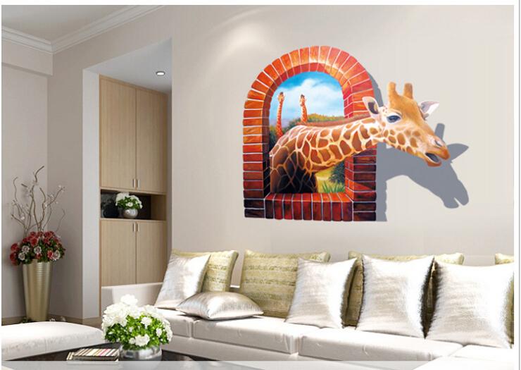 Huge Large Window 3d Giraffe Wall Stickers Decal Art Mural Decal Wallpaper Home Living Room