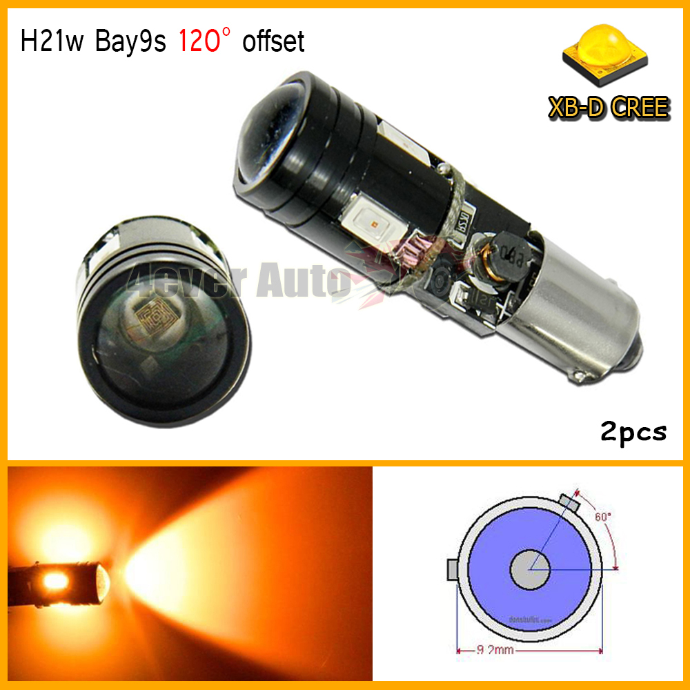 2pcs car styling H21W BAY9s 120 degress Canbus High Power yellow 9W 4-SMD CREE LED Lens Bulbs for Front rear Turn Signal lights<br><br>Aliexpress