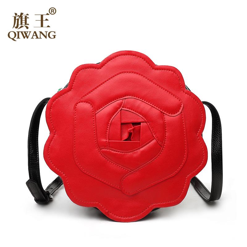 Qiwang Small Preium Women O Bag Flower 3-d Handmade Shoulder Bag High Quality Long Leather Cute Rose Bag Lady with Leaf Zipper<br><br>Aliexpress