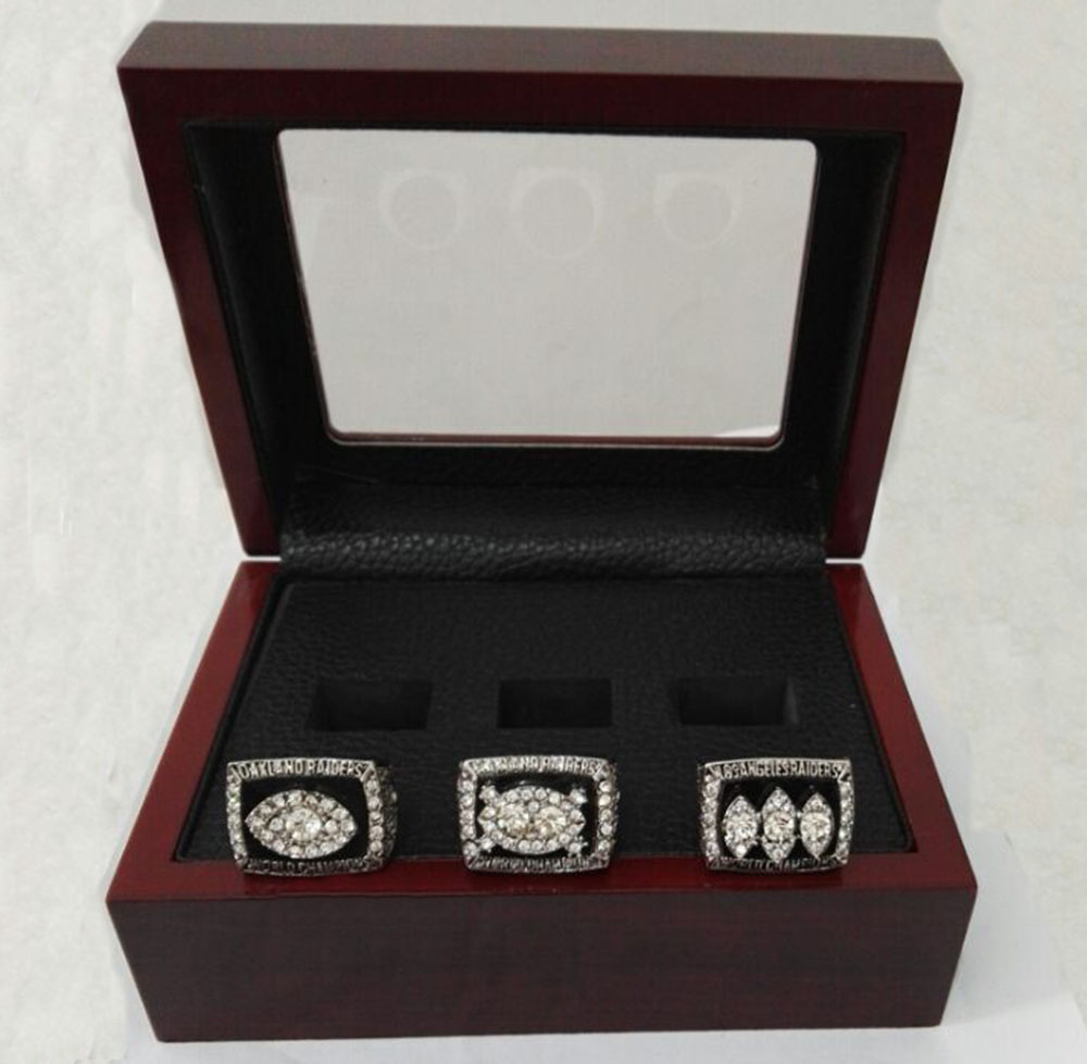 Alloy Rings Sets for Replica Super Bowl 3 Years Sets 1976/1980/1983 Oakland Raiders Championship Ring With Wooden Boxes(China (Mainland))