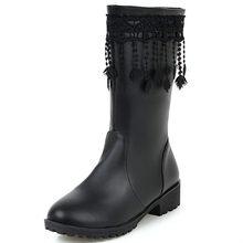 MEMUNIA 2020 di alta qualità dell'unità di elaborazione della caviglia stivali per le donne punta rotonda frangia di modo scarpe donna autunno inverno stivali di grande formato 34-43(China)