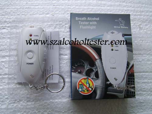 New Keychain Alcohol Tester Free Shipping/ LED Breath Alcohol Tester/ Breathalyzer Color box package/Wholesale(China (Mainland))