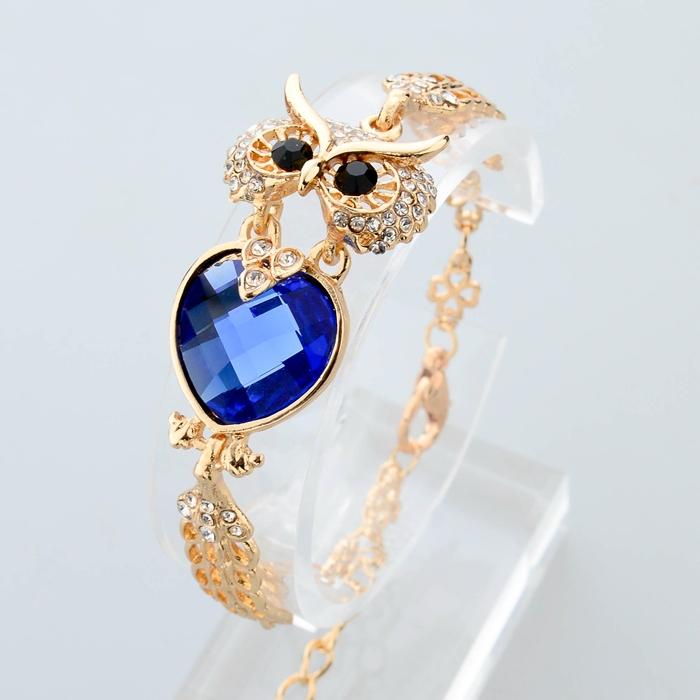 חדש ב-2014 החתונה צמיד לנשים 18K מצופה זהב שרשרת מלאה קריסטל ינשוף קישוט צמידים & צמידי SBR140208