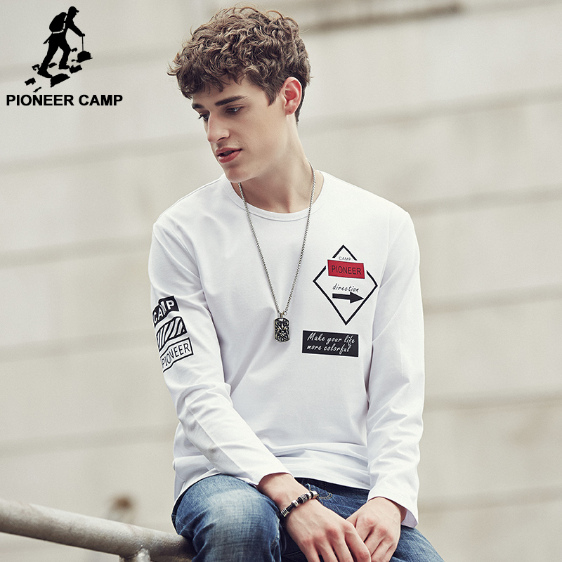 Pioneer Camp 2016 New Autumn Men T Shirt Long Sleeve Cotton Fashion Casual Elastic Slim Fit T Shirt Man Brand Clothing 622103(China (Mainland))
