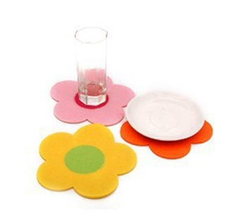 2664-5 fashion spell color sunflowers felt placemats coasters insulation pad / Gift 8g(China (Mainland))