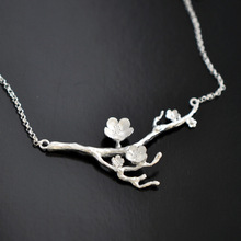 925 Sterling Silver Cherry blossom Necklace Fashion Summer Jewelry Branch Flowers Necklaces & Pendants for women Joyas De Plata(China (Mainland))