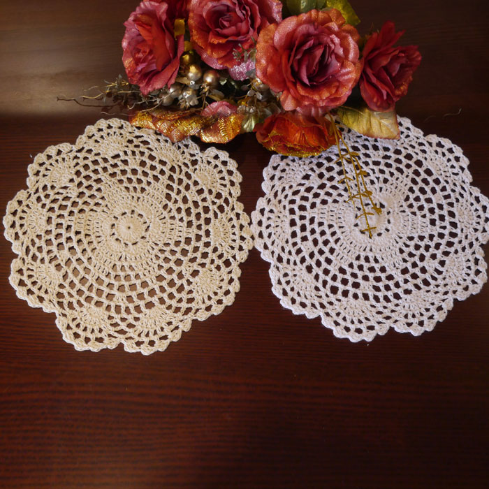 Unique Handmade hook flowers cotton lace shabby chic / hollow round decorative mat coasters/ cup pads / diameter 18-20CM(China (Mainland))